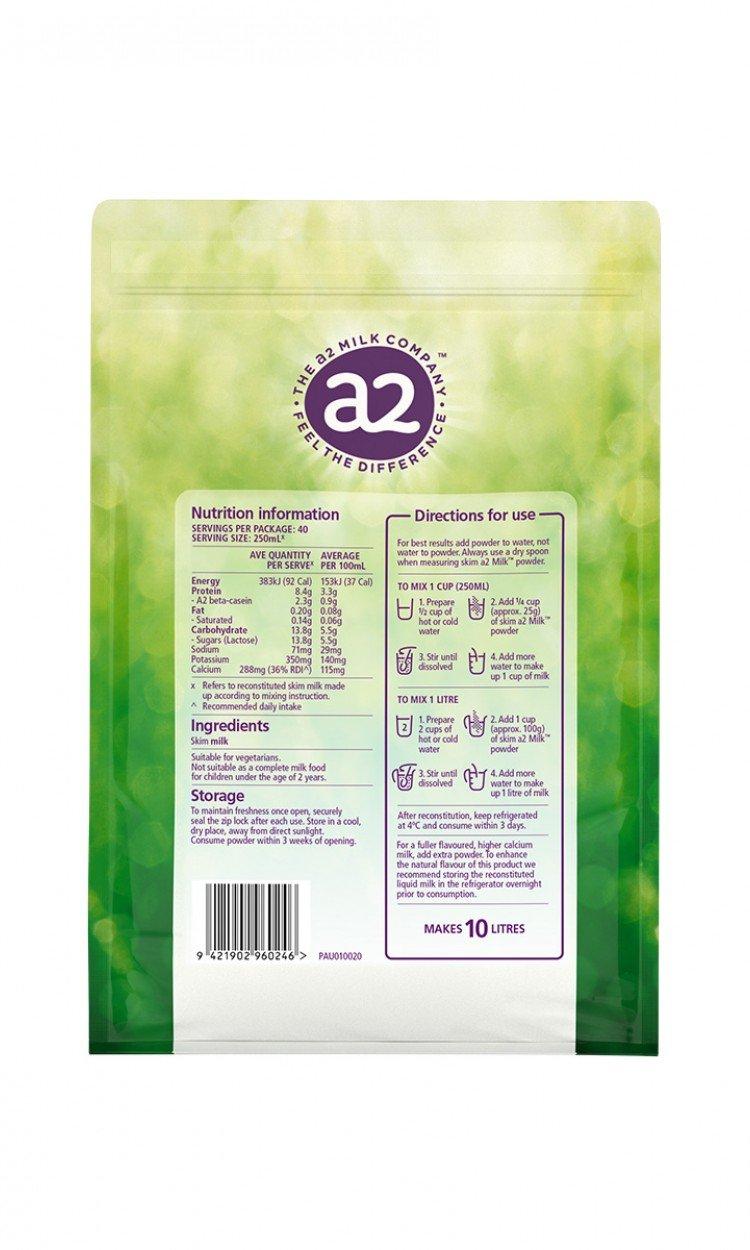 【A2】A2成人脱脂奶粉3袋(澳洲直邮)保质期:08/2022