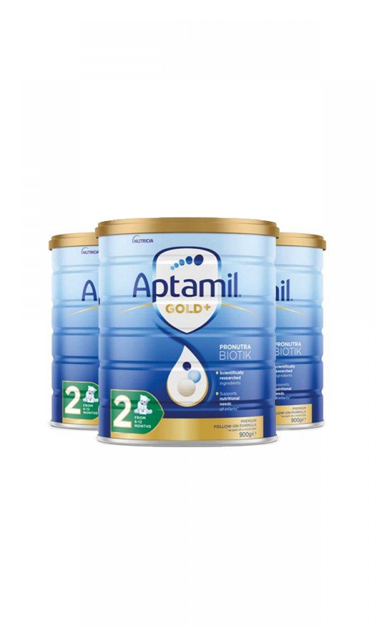 【APTAMIL】K2爱他美金装奶粉2段3罐(澳洲直邮)保质期:01/2023